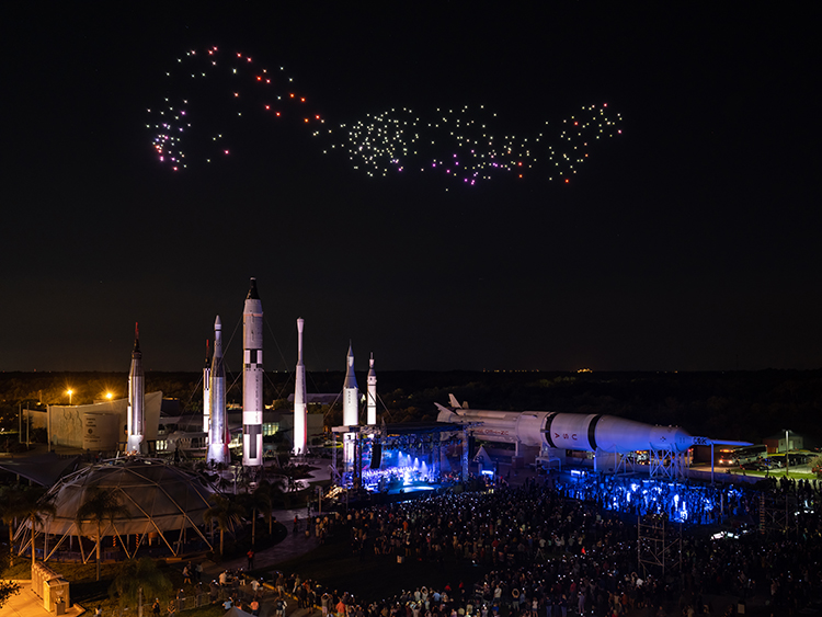 Franchise Freedom performing over NASA's Rocket Garden