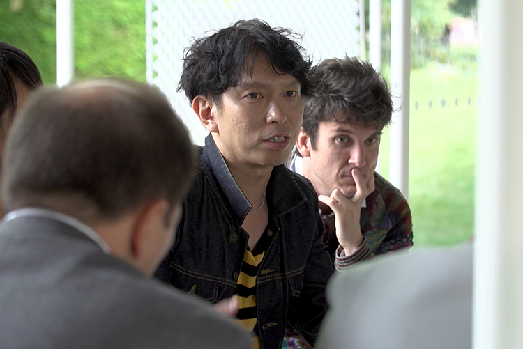 Junya Ishigami speaking during the Therme Art & Architecture Workshop inside his 2019 Serpentine Pavilion