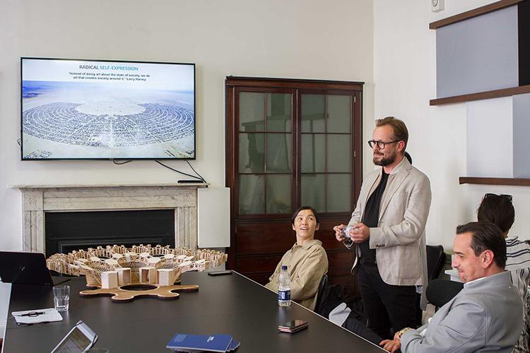 Koo Jeong A, artist; Mikolaj Sekutowicz, Therme Art Curator; and Robert C. Hanea, Therme Group Founder