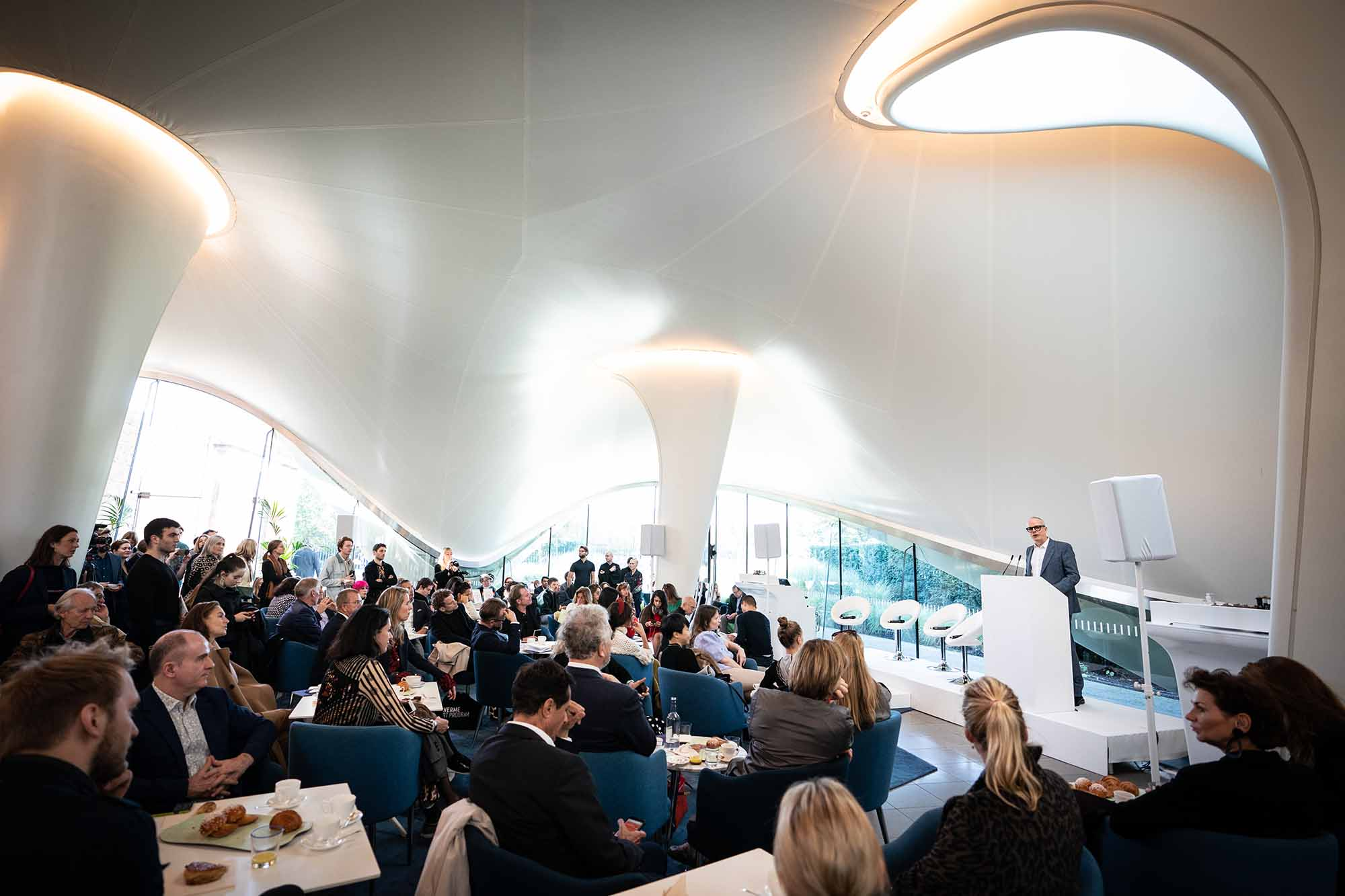 Hans Ulrich Obrist speaking during the Serpentine Galleries' Frieze Breakfast