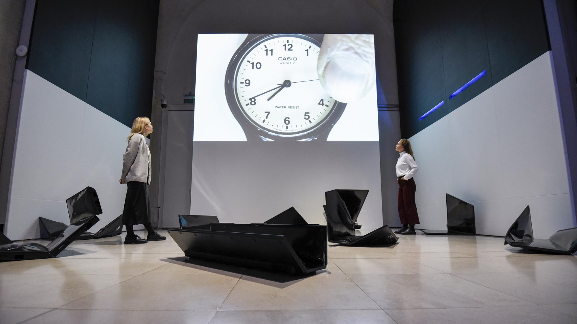 Marcus Coates' Self Portrait as Time, 2016 & Julia Varela's 'X.5000', 2017 on view at 24/7 at Somerset House © Stephen Chung for Somerset House