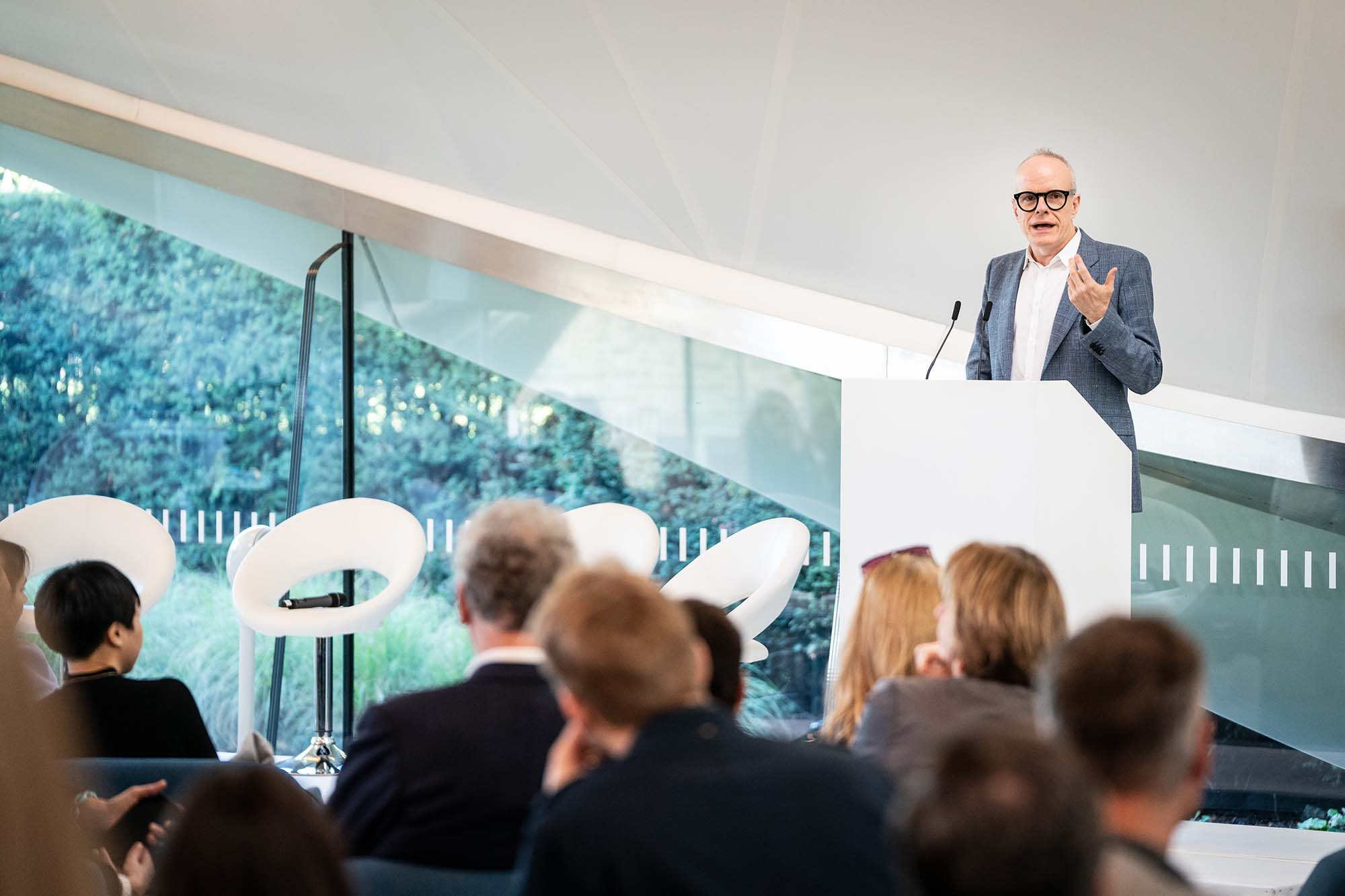 Hans Ulrich Obrist, Artistic Director of Serpentine Galleries speaking during Serpentine Galleries' Frieze Breakfast