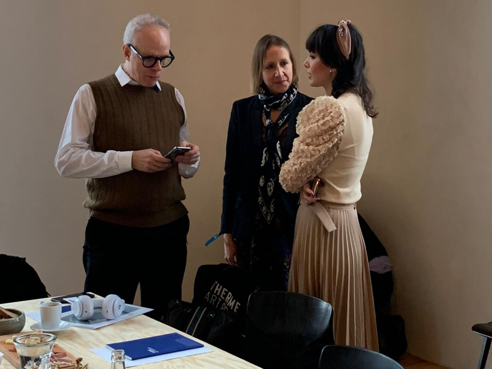 Hans Ulrich Obrist, Claudia Paetzold and Sara Faraj during the Therme Think Tank